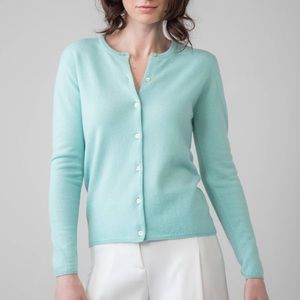 Aqua Crew Neck Women's Cashmere Blend Cardigan